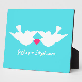 Turquoise White Love Birds Silhouette Display Plaque