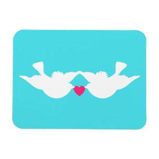 Turquoise White Love Birds Silhouette Rectangular Photo Magnet