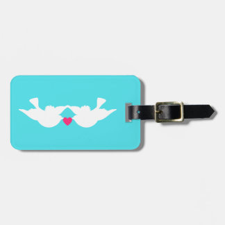 Turquoise White Love Birds Silhouette Tag For Bags
