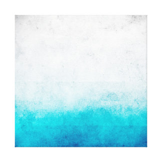 Turquoise & White Ombre Distressed Watercolor Canvas Print