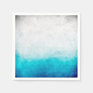 Turquoise & White Ombre Distressed Watercolor Paper Napkins