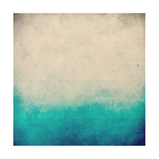 Turquoise & White Ombre Distressed Watercolor Wood Print