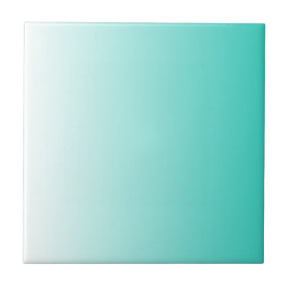 Turquoise White Ombre Small Square Tile