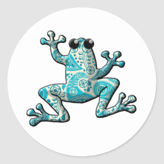 Turquoise White Paisley Frog Classic Round Sticker