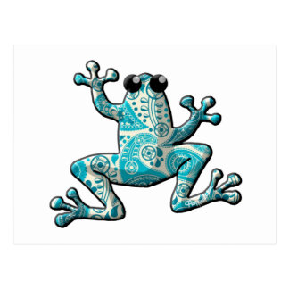 Turquoise White Paisley Frog Postcard