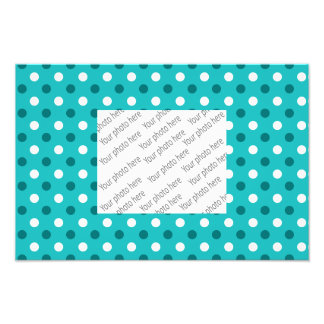 Turquoise white polka dots photographic print