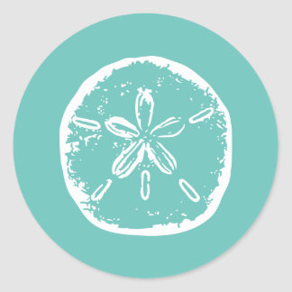 Turquoise white Sand dollar beach wedding stickers