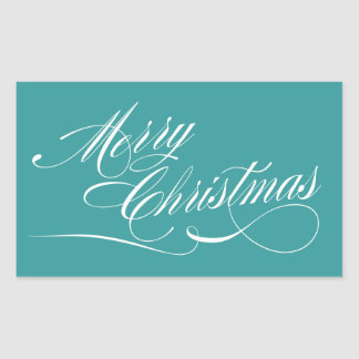 Turquoise White Script Merry Christmas Stickers
