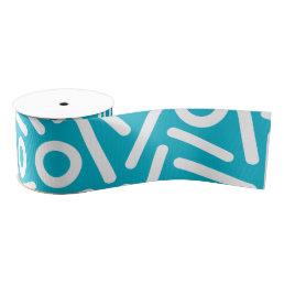 Turquoise white seamlses monogram Pattern ribbon