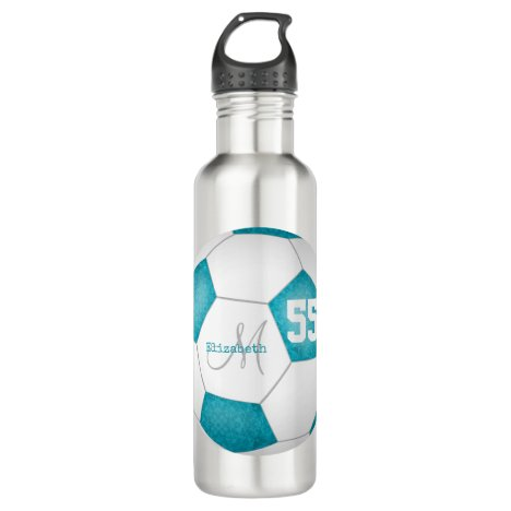 turquoise white soccer girl name jersey number stainless steel water bottle