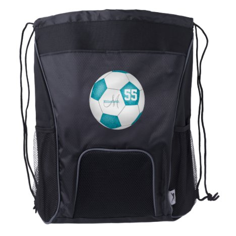 turquoise white soccerball girl name jersey number drawstring backpack