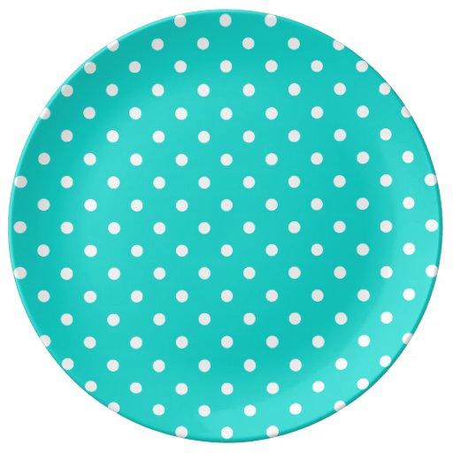 Turquoise White Spotty Polka Dot Pattern Porcelain Plates