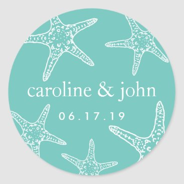 Beach Themed Turquoise & White Starfish Personalized Wedding Classic Round Sticker