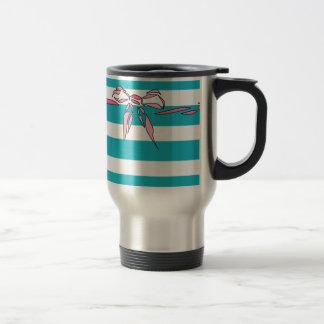 Turquoise White Stripe Pink Bow Coffee Mug Girly