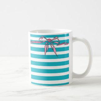 Turquoise White Stripe Pink Bow Design Coffee Mug
