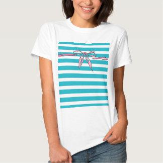 Turquoise White Stripe Pink Bow Design Tshirt