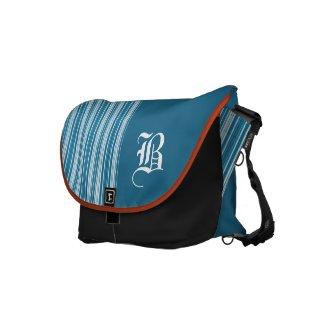 Turquoise & White Stripe with Monogrammed Initial rickshawmessengerbag