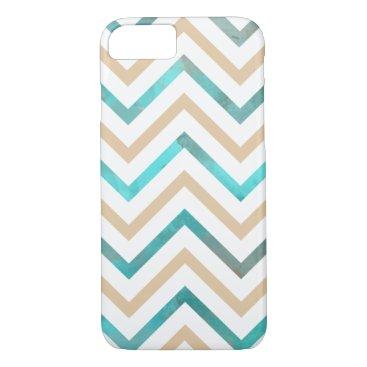 Beach Themed Turquoise White Tan Chevron iPhone 7 Case