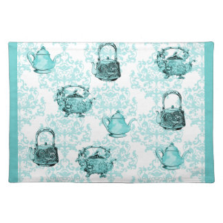 Turquoise & White Tea Pots and Damask Placemat