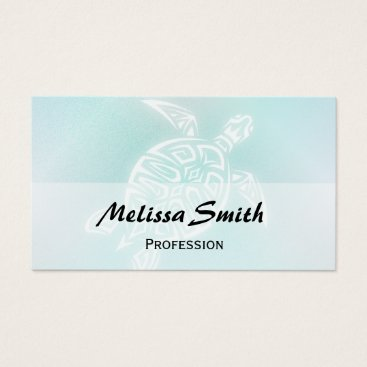Beach Themed Turquoise White  Turtle Business Card