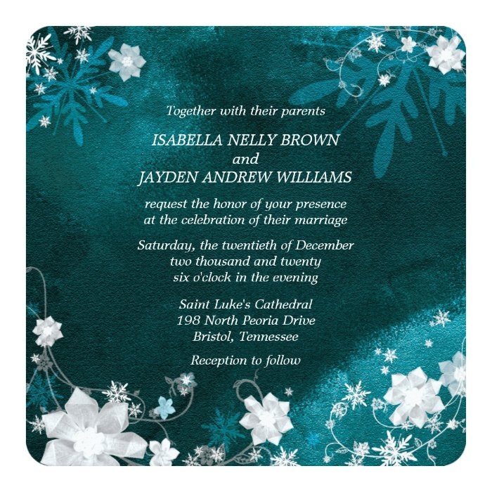 Together With Their Parents Wedding Invitation: Turquoise White Winter Glitter Boho Wedding Card