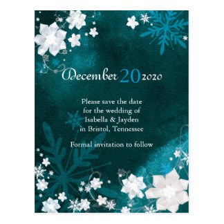 Turquoise + White Winter Wedding Save the Date Postcard