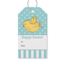 Turquoise White Yellow Bird Happy Easter Gift Tags