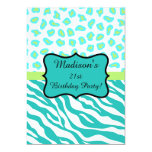 Turquoise White Zebra Leopard 21st Birthday Party 5x7 Paper Invitation Card