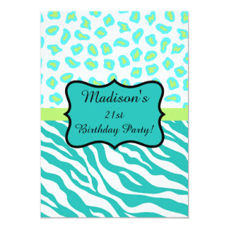 Turquoise White Zebra Leopard 21st Birthday Party 5x7 Paper Invitation Card