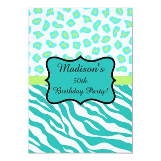 Turquoise White Zebra Leopard 50th Birthday Party Card