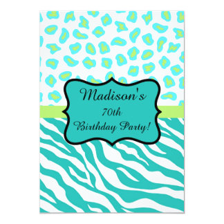 Turquoise White Zebra Leopard 70th Birthday Party Card