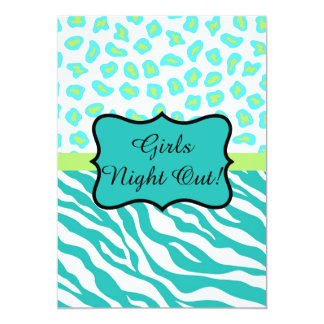 Turquoise White Zebra Leopard Girls Night Out Card