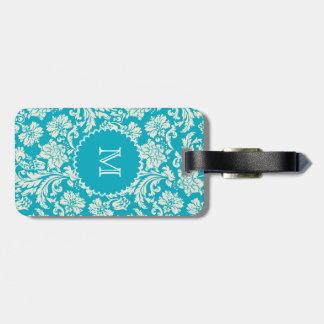 Turquoise & WhiteFloral Damasks-Customized Luggage Tag