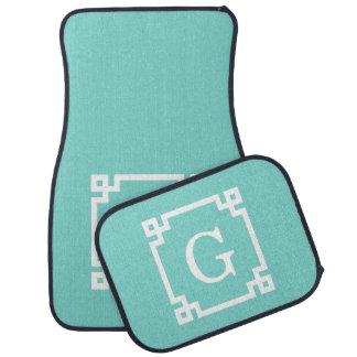 Turquoise Wht Greek Key Frame #2 Initial Monogram Car Mat