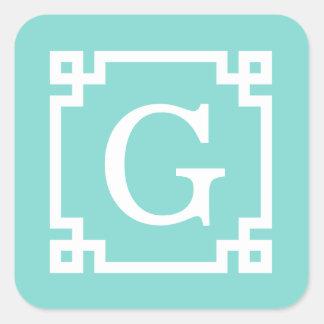 Turquoise Wht Greek Key Frame #2 Initial Monogram Square Sticker
