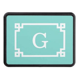 Turquoise Wht Greek Key Frame #2 Initial Monogram Tow Hitch Cover