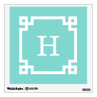 Turquoise Wht Greek Key Frame #2 Initial Monogram Wall Sticker
