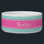 """Turquoise Wht Moroccan #5 Hot Pink2 Name Monogram Bowl<br><div class=""""desc"""">Turquoise Aqua and White Moroccan Quatrefoil Trellis Pattern #5, Hot Pink #2 Ribbon Name Monogram Label Customize this with your name, monogram or other text. You can also change the font, adjust the font size and font color, move the text, add additional text fields, etc Please note that this is...</div>"""