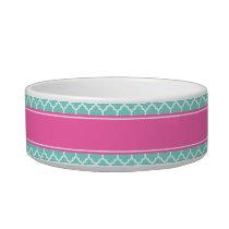 Turquoise Wht Moroccan #5 Hot Pink2 Name Monogram Bowl