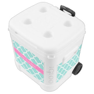 Turquoise Wht Moroccan #5 Hot Pink2 Name Monogram Cooler