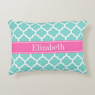Turquoise Wht Moroccan #5 Hot Pink2 Name Monogram Decorative Pillow