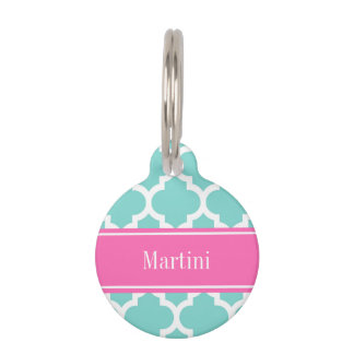 Turquoise Wht Moroccan #5 Hot Pink2 Name Monogram Pet Tag