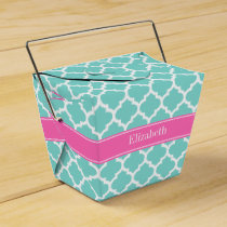 Turquoise Wht Moroccan #5 Hot Pink2 Name Monogram Favor Box