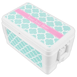 Turquoise Wht Moroccan #5 Hot Pink2 Name Monogram Ice Chest