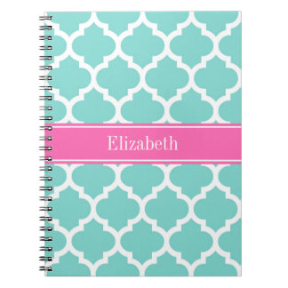 Turquoise Wht Moroccan #5 Hot Pink2 Name Monogram Notebook