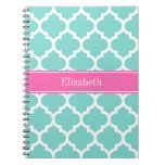 Turquoise Wht Moroccan #5 Hot Pink2 Name Monogram Spiral Notebook