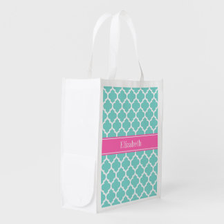 Turquoise Wht Moroccan #5 Hot Pink2 Name Monogram Market Tote