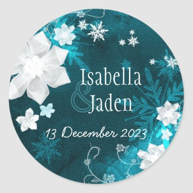 Turquoise Winter Delight Floral Wedding Sticker
