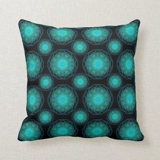 Turquoise Wispy Hippy Mandala Throw Pillow