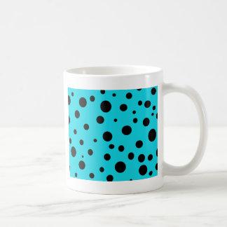 Turquoise with Black Polka Dots Fashion Fun Coffee Mug
